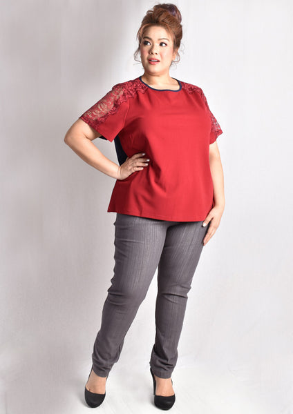 Blouse with Lace Sleeves (Black/Red & Blue)