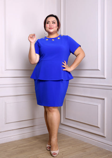 Eyelet Peplum Dress (Black/Royal Blue)