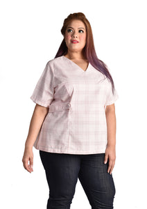 Baby Pink Plaid Blouse with Waist Buckles