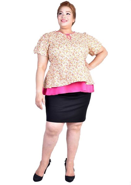 Pastel Orange Floral Pink Peplum Blouse with Puffy Sleeves