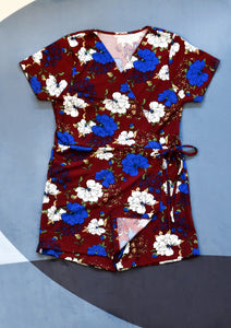 Red Romper with Blue and White Florals and Front Wrap