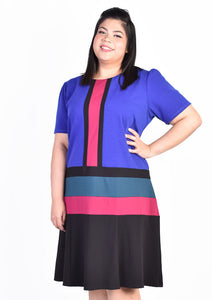 Purple and Pink Colour Block Panel Dress
