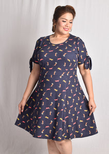 Festive Sausage Dog Dress with Cut-out at Sleeves