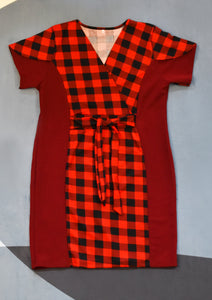 Red Checkered Panel Dress