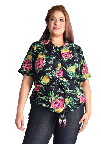 Black Floral Collared Top with Adjustable Tie