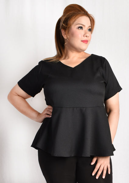 V Neck Peplum Blouse (Black/White Polka Dot)