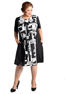 Geometric Printed Dress with Ribbon