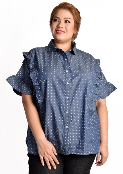 Dark Blue Polka Dot Blouse with Ruffles