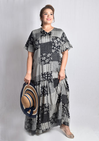 Abstract Patches Maxi Dress