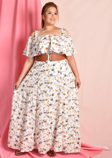 Cold Shoulder Floral Flare Maxi Dress with Obi Belt (White/Pink)
