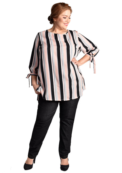 Pink Striped Top with Ribbon at Sleeves (KATE Range)