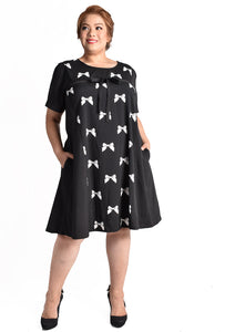 Black Ribbon Printed Dress