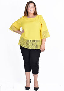Yellow Lace at Sleeves and Hem Blouse