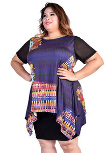 Purple Abstract Printed Top with Hi-low Hem and Mesh Sleeves