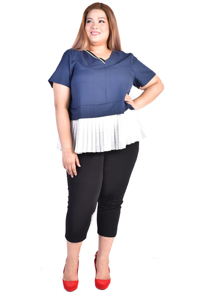 Blue Half Ribbed V Neck Blouse with Pleated Hem