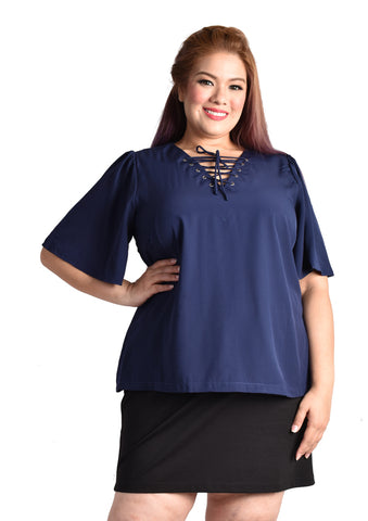 Laced-up Blouse with Butterfly Sleeves (Navy Blue/Pink)