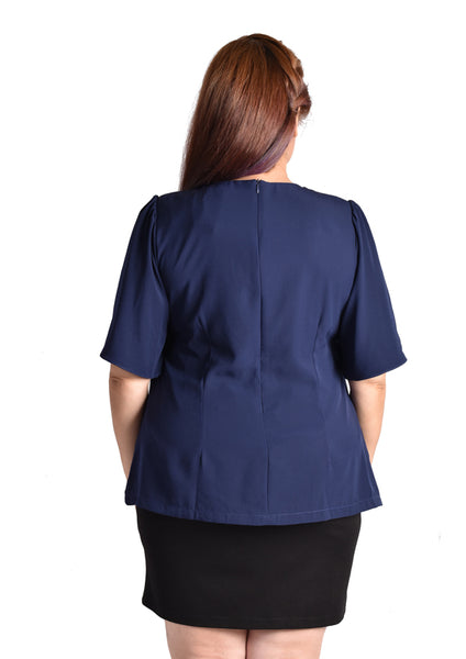 Laced-up Blouse with Butterfly Sleeves (Black/Navy Blue/Pink)