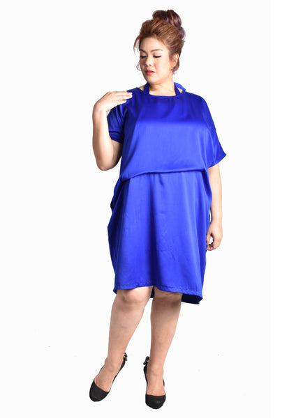 Inner Halter Tie Up Cocktail Dress (Navy Blue/Purple/Black/Electric Blue)