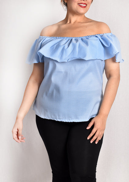 Off Shoulder Ruffles Blouse (Light Blue Checkered/Green/Black)