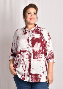 Red Abstract Long Sleeve Blouse