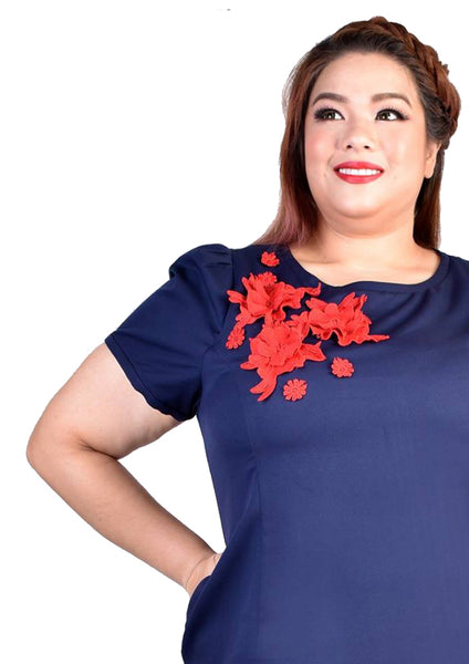 Floral Embroidary Dress (Red/Blue)