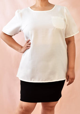 Basic White Blouse with Front Pocket