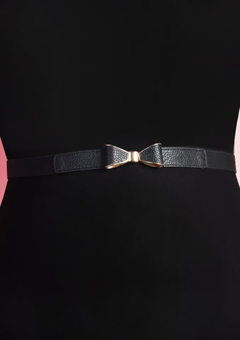 Minimalistic Ribbon Belt (Black/Champagne Gold)