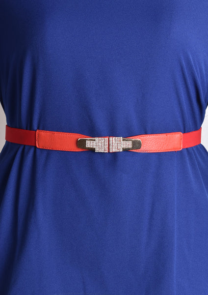 Belt with Symmetrical Tetris-like Crystal Details (Red/Silver/Gold)