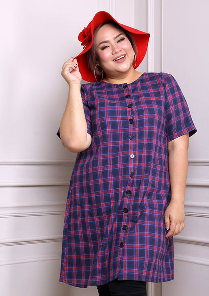 Dark Blue & Red Plaids Button Down Dress