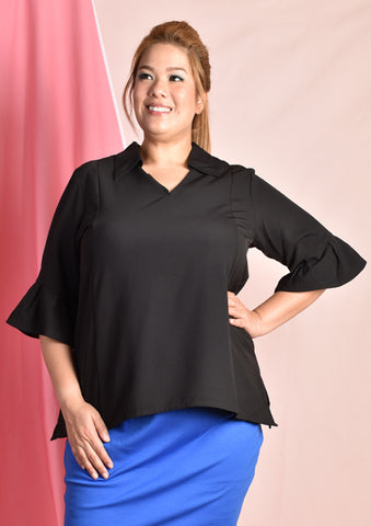 Black Blouse with O Ring and Ruffle Sleeves