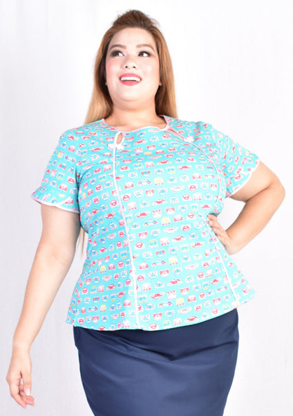 Light Blue Toy Car Printed Keyhole Blouse with Chinese Knots