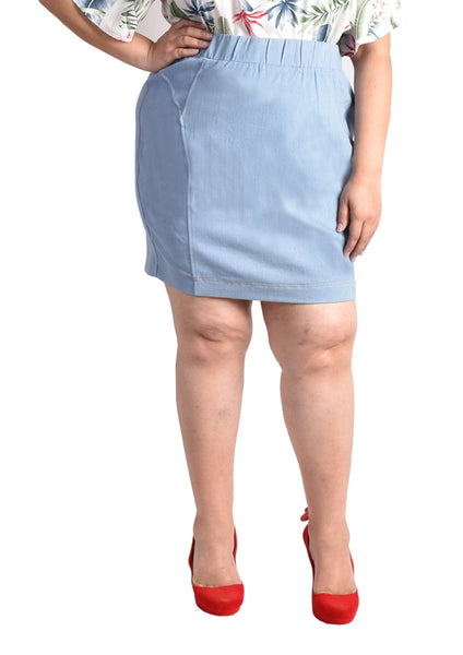 Denim Pencil Skirt (Light Blue/Dark Blue)