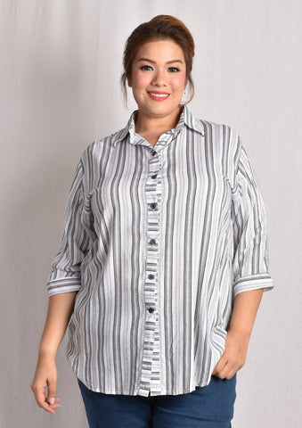 Linear Black Striped Long Sleeved Blouse