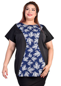Dark Blue Feathers Panel Blouse