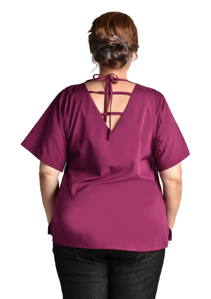 Blouse with Back Straps (Green/Navy Blue/Beige/Purple)