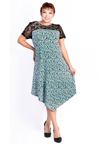 Abstract Printed Dress with Floral Lace Details (Blue/Orange)