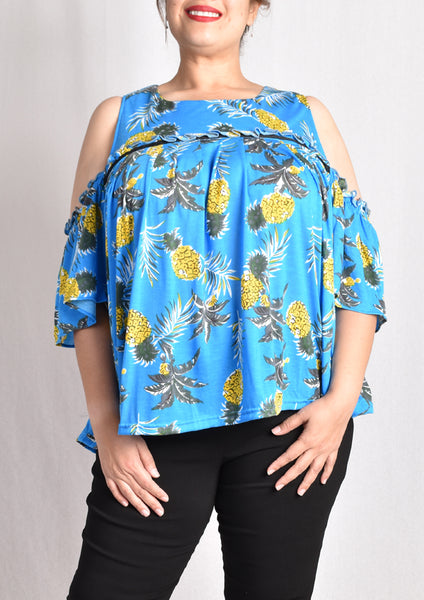 Pineapple Cold Shoulder Blouse (Pink/Blue)