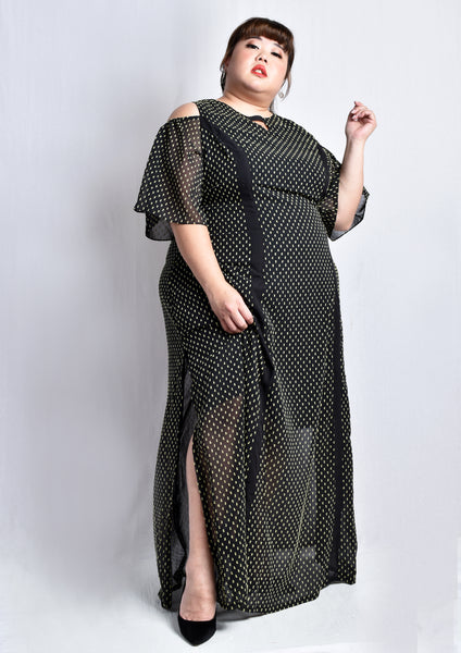 Black Japan Fabric Cold Shoulder Panel Maxi Dress