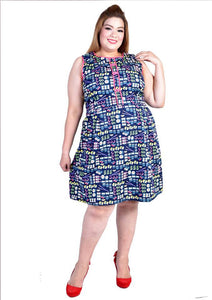 Blue Sushi Printed Sleeveless Dress with Chinese Knots
