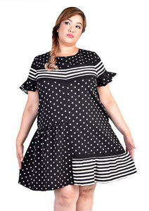 Polka Dot & Stripe Casual Dress