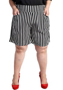 Black and White High Waisted Striped Shorts