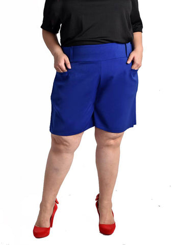 High Waisted Shorts (Black/Royal Blue)