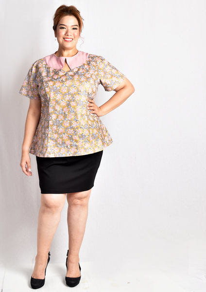 Cherry Blossom Printed Keyhole Blouse