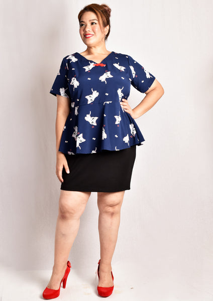 Cat and Macaron Printed Peplum Blouse with Chinese Knot