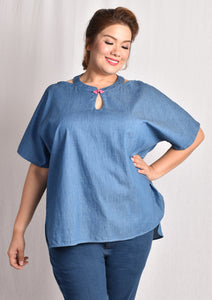 Chambray Keyhole Cold Shoulder Blouse with Chinese Knot (Light Blue/Red)