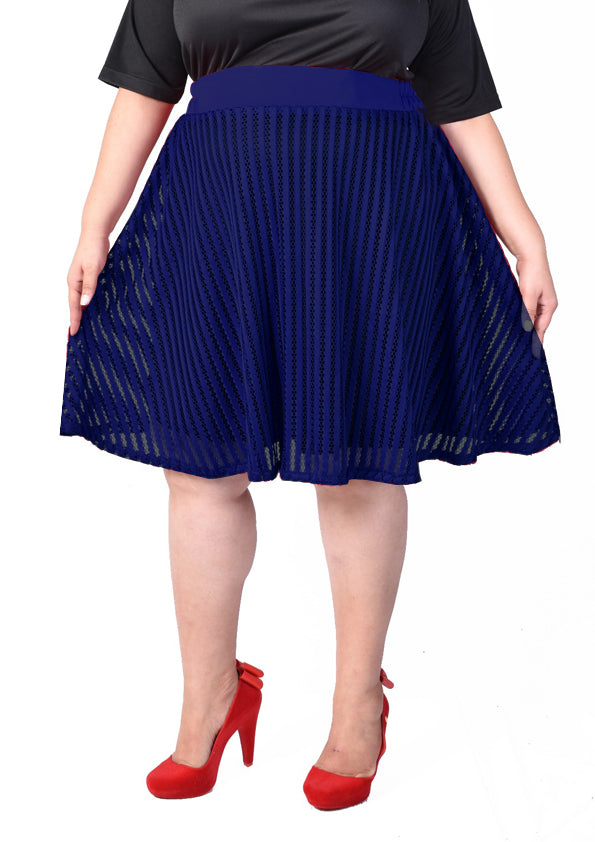 Fishnet Lace Skirt with Lining (Blue/Red)