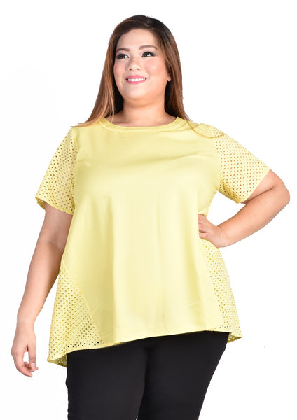 Blouse with Lace Babydoll Back Details (Green/Yellow)