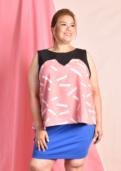 Sleeveless Sweetheart Neckline Illusion Blouse (Pink/Blue)