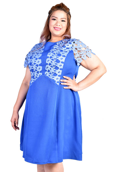 Guipure Lace Dress (Red & Black/Light Blue)