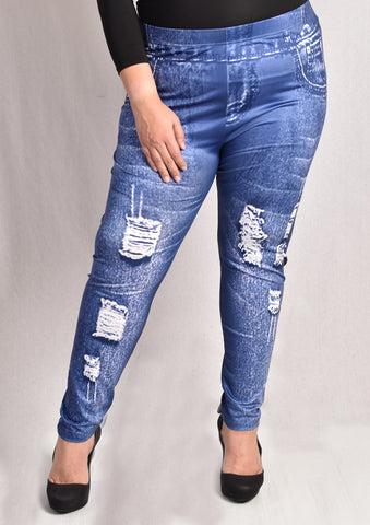 Fake Jeans Printed Leggings (Blue Ripped/ Black Ripped/ Blue Shoelace)